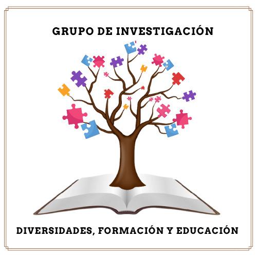 Logo Grupo de investigación Diversidades formación y educación. En la parte central de la imagen libro abierto sobre este árbol con hojas en forma de piezas de rompecabezas de diferentes formas y colores.